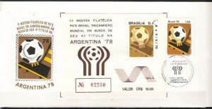 Brazil, Scott cat. 1550. W. C. Soccer with Argentina label on a Combo cover. ^