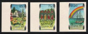 Norfolk Christmas Self-adhesive 3v Left Margins SG#580-582 SC#566-568