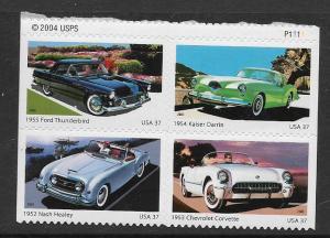 3932, 3933, 3934, 3935 Se-tenant blk Classic Cars MNH