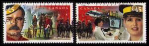 CANADA 1998 45c #1736-7 ROYAL CANADIAN MOUNTED POLICE CPL ST OF 2, FINE USED