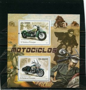 ST.THOMAS & PRINCE 2011 MOTORCYCLES SHEET OF 4 STAMPS MNH