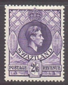 Swaziland Scott 35 - SG36b, 1938 George VI 2/6d Perf 13.1/2 x 14 MH*