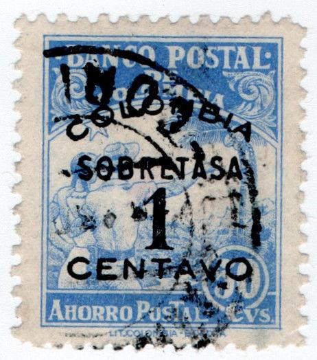 (I.B) Colombia Revenue : Postal Savings Bank 1c on 50c Surcharge
