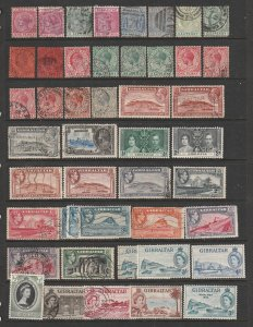 Gibralter a page of QV to early QE2 some mint rest used