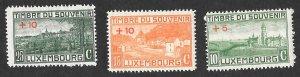 Luxembourg Scott #B1-B3 Monument Semi-postal (1921) MH