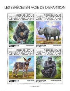 C A R - 2019 - Endangered Species - Perf 4v Sheet  - M N H