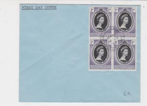 Falkland Islands Dependencies 1953 FDC Four Queen Stamps Cover Ref 23339