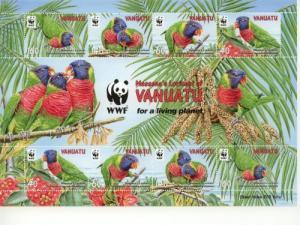 2011 Vanuatu WWF Rainbow Lorikeet Souv Sheet (Scott 1007e) MNH