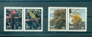 Costa Rica - Sc# 433-6. 1990 Parrots, Birds, Trees. MNH Pairs. $18.00.