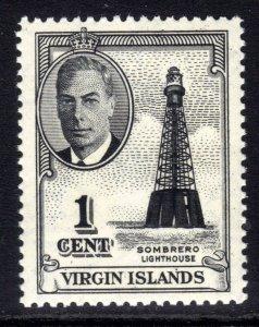 British Virgin Islands 1952 KGV1 1ct Black Lighthouse Umm SG 136 ( J395 )