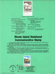 US SP812 Rhode Island Statehood 2348 Souvenir Page FDC