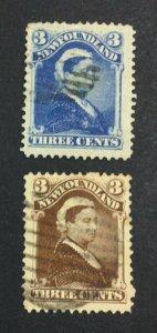MOMEN: NEWFOUNDLAND #65,65a 1896-7 USED £125 LOT #7017