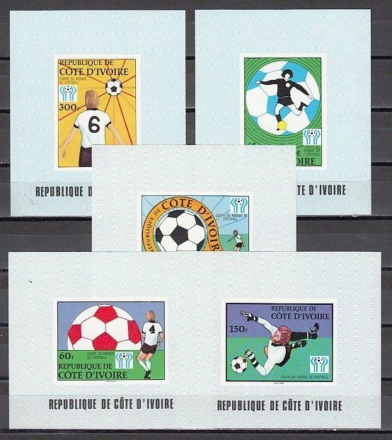 Ivory Coast, Scott cat. 466-470. World Cup Soccer issue as Deluxe s/sheets.