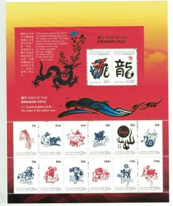 MCI45) Christmas Island 2012 Year of the Dragon Zodiac Sheetlet MUH