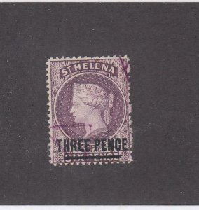 ST HELENA # 37 VF-LIGHT USED 3p SURCHARGED CAT VALUE $13.50
