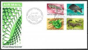 PAPUA NEW GUINEA 1972 LIZARDS TURTLES SNAKES Set Sc 344-347 Cachet FDC