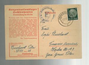 1941 Germany Oranienburg Concentration Camp Postcard Cover KZ Peter Burchardt