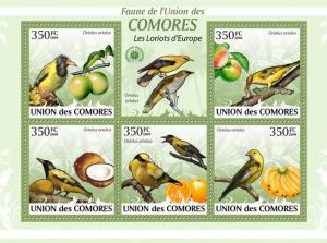 COMORES 2009 SHEET LORIOTS EUROPE ORIOLES ORIOLUS EUROPEAN BIRDS AVES cm9422a