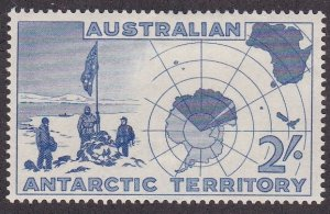 Australian Antarctic Territory # L4, Explorers, Map of Antarctic, LH, 1/3 Cat.