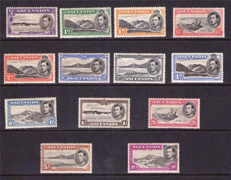 ASCENSION ISLAND GeorgeVI 1938 Definitive set hinged set 13.5 perf Cat. £480