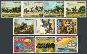Paraguay 1536-1538,1540 sheet,MNH.UPU-100,1974.Coaches,Balloon,Transport,Space.