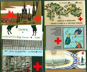 France 1985/1995 range of Red Cross Fund booklets (7) Mint Stamps