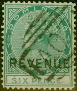 Dominica 1879 6d Green SGR2 Fine Used