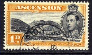 Ascension Island 1942 KGV1 1d Green Mountain Used SG 39b ( E813 )