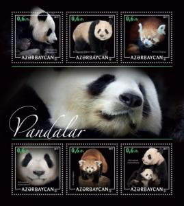 AZERBAIJAN 2017 SHEET PANDA BEARS WILDLIFE azrb17214a