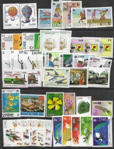 Zaire Stamp collection of 42 mint stamps.  Dated 1979-1983.  Nice.