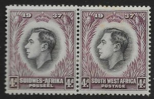 SOUTH WEST AFRICA SG102a 1937 CORONATION 4d BLACK & PURPLE RE-ENTRY MTD MINT