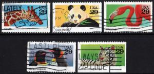 SC#2705-09 29¢ Wild Animals Booklet Singles (1992) Used