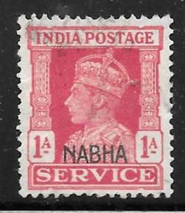 India Nabha O44: 1a George VI, used, F-VF