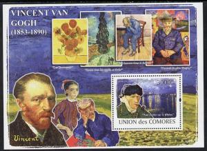 Comoro Island MNH S/S Vincent Van Gogh Paintings 2008