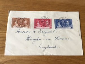 Gambia 1937  Coronation stamps cover  Ref 55809