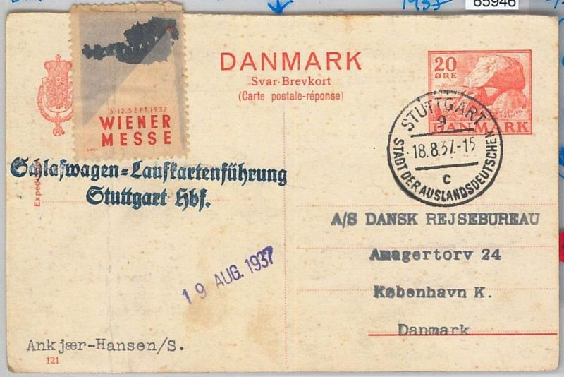 65946 - DENMARK -  POSTAL STATIONERY  CARD  reply sent from GERMANY 1937