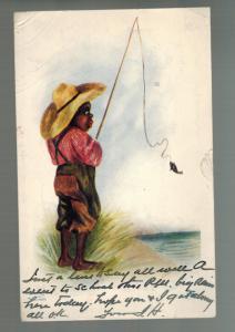 1906 Canada Postcard Cover African American Little Boy Fishing Black Americana