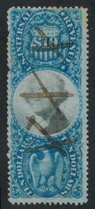 UNITED STATES R128 USED, F-VF, $10 BLUE
