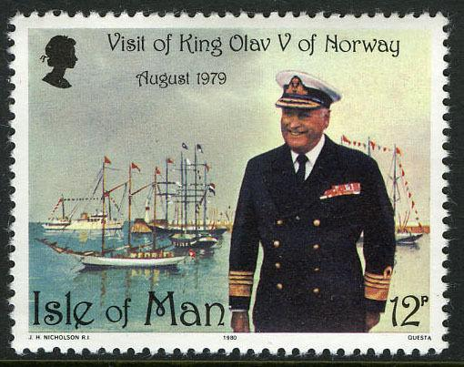 Isle of Man 176, MI 172, MNH. Visit of King Olav V of Norway. Ships, 1980