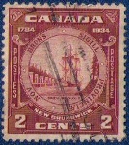 CANADA Sc 210 Used NEW BRUNSWICK SEAL 1934 Centering VF