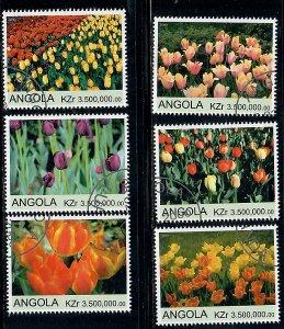 Angola Used Flowers / Tulips complete set CTO