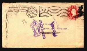 US 1914 Corner Card Cover / Flag Cancel / Unclaimed - L4809