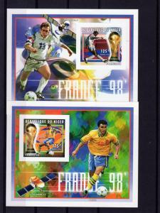 Niger 1996 World Cup France 98 DELUXE SS (4) IMPERF.Mi.#1258/1261