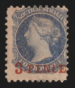 SOUTH AUSTRALIA : 1870 '3 PENCE' RED on QV 4d, wmk 'large star' with CERTIFICATE