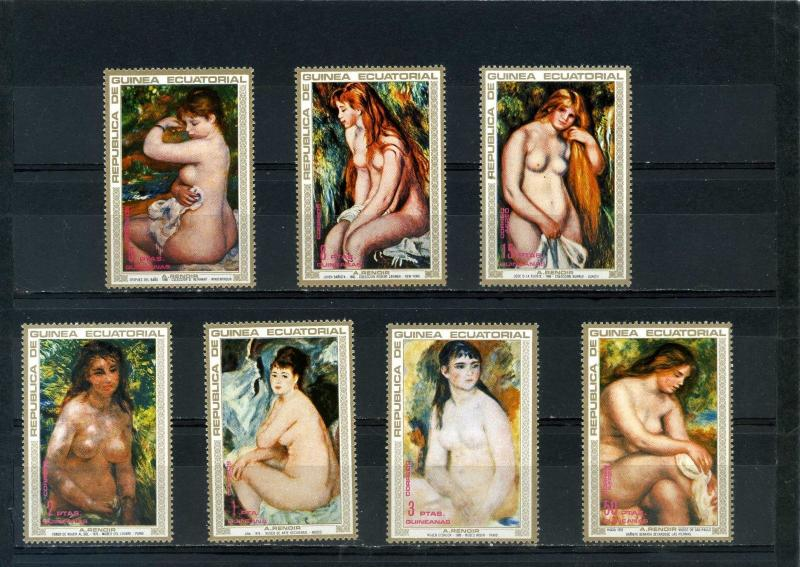 EQUATORIAL GUINEA PAINTINGS RENOIR NUDES SET OF 7 STAMPS MNH