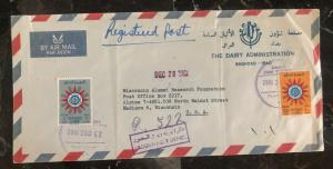 1962 Bagdad Iraq Dairy Admin Airmail Cover To Madison Wi USA MXE
