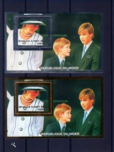 Niger 1997 Diana & Princes William & Harry 2 SS Gold+Silver YT #85/85A MNH VF