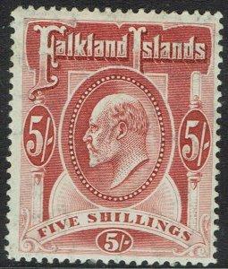 FALKLAND ISLANDS 1904 KEVII 5/-