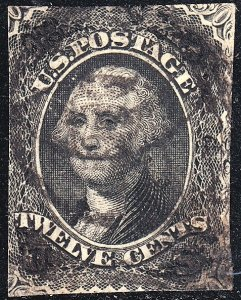 US STAMP #69 – 1861-62 12c Washington, black used fault