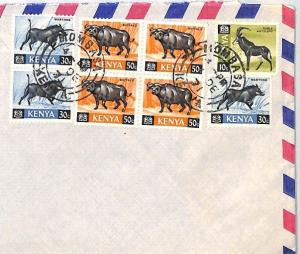 BT291 1971 Kenya Commercial Air Mail Cover ANTELOPE WARTHOG BUFFALO {samwells}